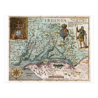 Cartão Postal Mapa 1627 de Virgínia