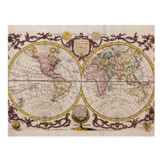 Cartão Postal Mapa 1782 do mundo por George Augustus Baldwyn