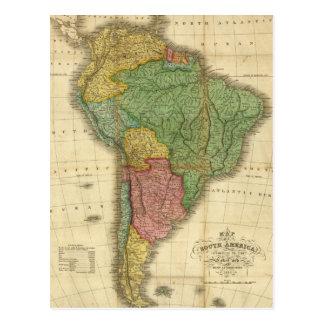 Cartão Postal Mapa 1826 de Ámérica do Sul do vintage por Anthony