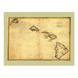 Cartão Postal Mapa 1837 - ilhas havaianas de Havaí do vintage