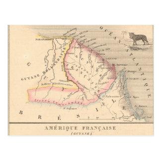 Cartão Postal Mapa 1858 de Amerique Francaise (Guyane), Guyana