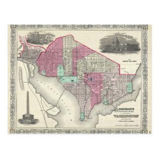 Cartão Postal Mapa 1866 de Johnson da C.C. de Washington
