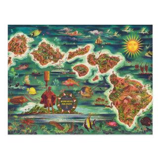 Cartão Postal Mapa 1950 de Dole da pintura de óleo de Havaí