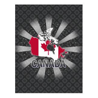 Cartão Postal Mapa 2,0 da bandeira de Canadá