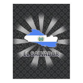 Cartão Postal Mapa 2,0 da bandeira de El Salvador