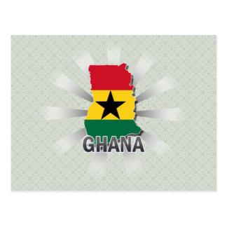 Cartão Postal Mapa 2,0 da bandeira de Ghana