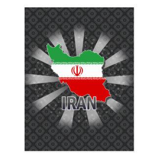 Cartão Postal Mapa 2,0 da bandeira de Irã