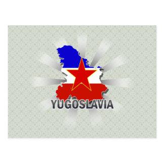 Cartão Postal Mapa 2,0 da bandeira de Jugoslávia