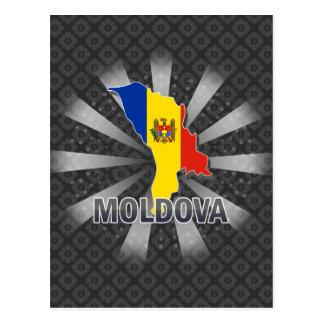 Cartão Postal Mapa 2,0 da bandeira de Moldova