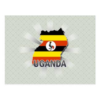 Cartão Postal Mapa 2,0 da bandeira de Uganda