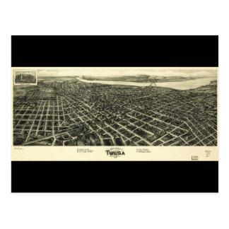 Cartão Postal Mapa Aero da vista de Tulsa Oklahoma (1918)