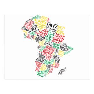 Cartão Postal Mapa africano contemporâneo da palavra