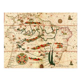 Cartão Postal Mapa antigo de Ámérica do Sul