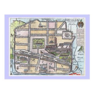 Cartão Postal Mapa antigo restaurado raro de Jerusalem