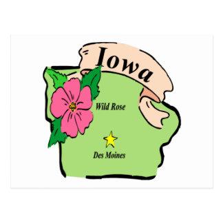 Cartão Postal Mapa bonito de Iowa