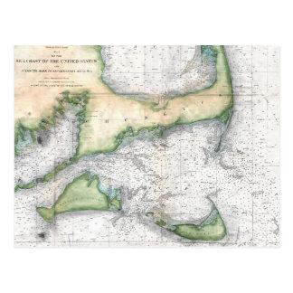 Cartão Postal Mapa Cape Cod, Nantucket, Martha's Vineyard
