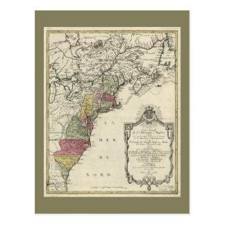 Cartão Postal Mapa colonial de América por Matthaus Lotter