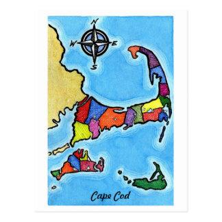 Cartão Postal Mapa colorido de Cape Cod