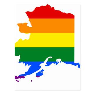 Cartão Postal Mapa da bandeira de Alaska LGBT