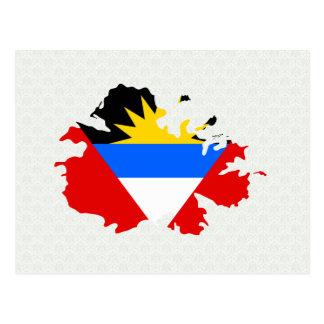 Cartão Postal Mapa da bandeira de Antígua sem redução