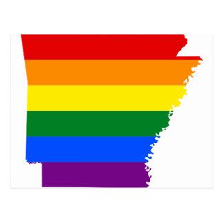 Cartão Postal Mapa da bandeira de Arkansas LGBT