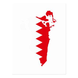 Cartão Postal Mapa da bandeira de Barém