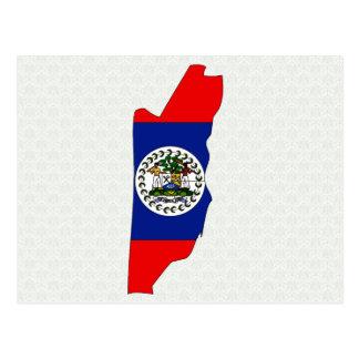 Cartão Postal Mapa da bandeira de Belize sem redução