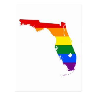 Cartão Postal Mapa da bandeira de Florida LGBT