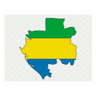 Cartão Postal Mapa da bandeira de Gabon sem redução