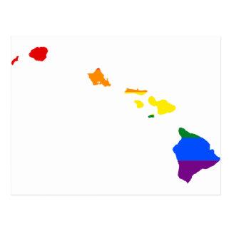 Cartão Postal Mapa da bandeira de Havaí LGBT