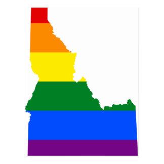 Cartão Postal Mapa da bandeira de Idaho LGBT