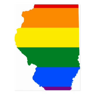 Cartão Postal Mapa da bandeira de Illinois LGBT