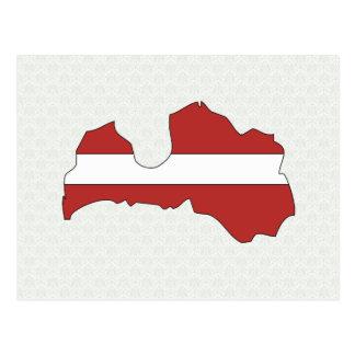 Cartão Postal Mapa da bandeira de Latvia sem redução