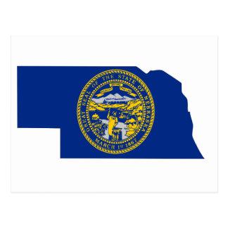 Cartão Postal Mapa da bandeira de Nebraska