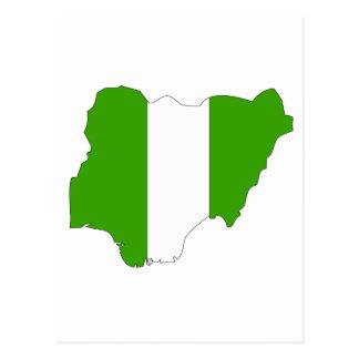 Cartão Postal Mapa da bandeira de Nigéria