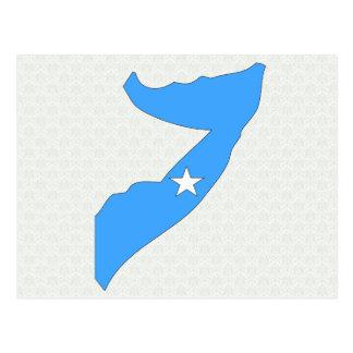 Cartão Postal Mapa da bandeira de Somália sem redução