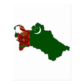 Cartão Postal Mapa da bandeira de Turkmenistan