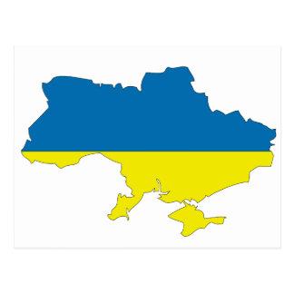 Cartão Postal Mapa da bandeira de Ucrânia