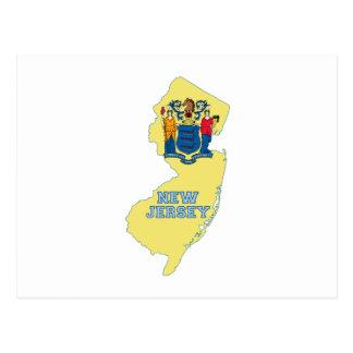 Cartão Postal Mapa da bandeira do estado de New-jersey