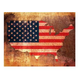 Cartão Postal Mapa da bandeira dos EUA