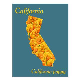Cartão Postal Mapa da colagem da flor de estado de Califórnia