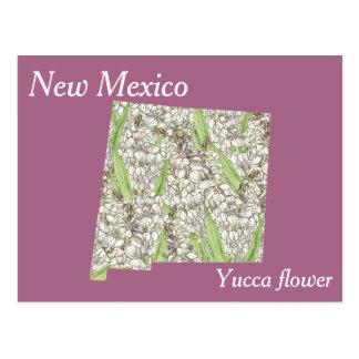 Cartão Postal Mapa da colagem da flor de estado de New mexico