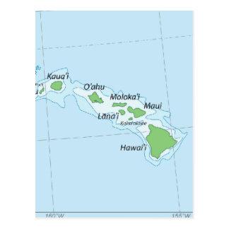 Cartão Postal Mapa da corrente da ilha havaiana