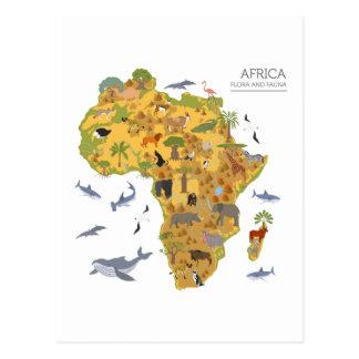 Cartão Postal Mapa da flora & da fauna de África |