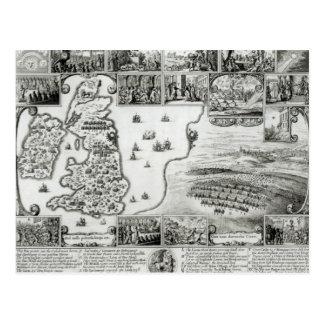 Cartão Postal Mapa da guerra civil Inglaterra e de uma vista de