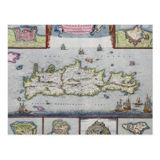 Cartão Postal Mapa da ilha de Candia