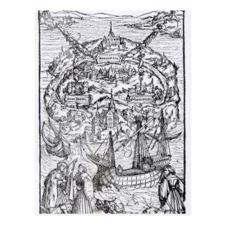 Cartão Postal Mapa da ilha de Utopia, frontispiece do livro