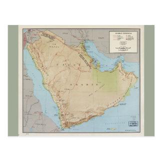 Cartão Postal Mapa da península árabe (1969)