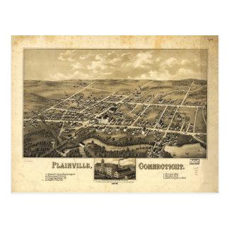 Cartão Postal Mapa da perspectiva de Plainville Connecticut