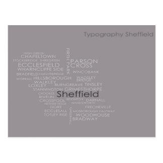 Cartão Postal Mapa da tipografia de Sheffield